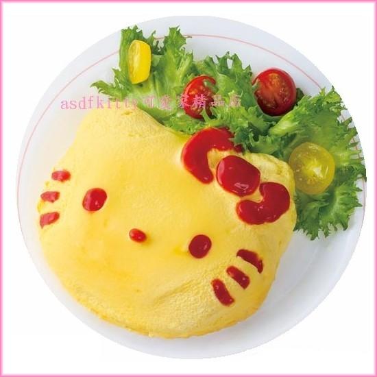 asdfkitty可愛家☆KITTY臉型蛋包飯模型含醬料筆跟表情粉篩-日本正版