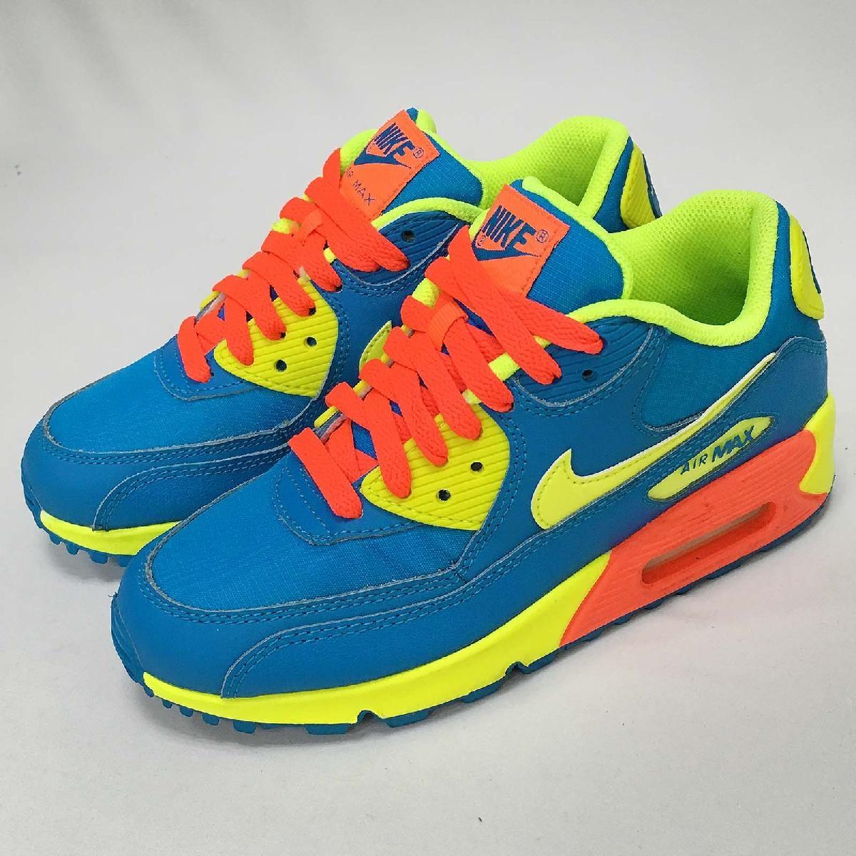 NG出清Nike復古慢跑鞋Air Max 90 GS藍黃運動鞋女鞋大童鞋二手美品微使用痕跡PUMP306