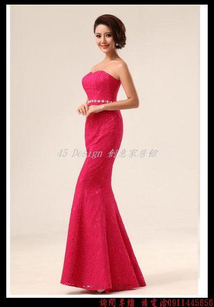 (45 Design)       7天到貨  新款韓版婚紗禮服 抹胸顯瘦禮服結婚敬酒禮服 伴娘禮服
