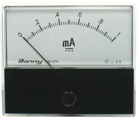 DC1mA 670指針式工業用直流電流錶頭