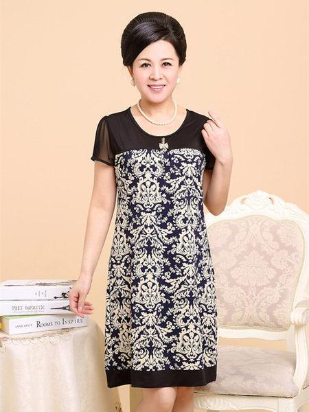 3C膜露露中老年連衣裙夏裝新款中年女裝短袖長裙子大碼媽媽裝藏青圖騰