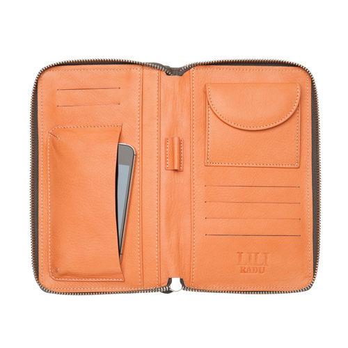 LILI RADU德國新銳時尚設計品牌手工雙色小牛皮時尚手拿多功能手機包錢包時尚灰