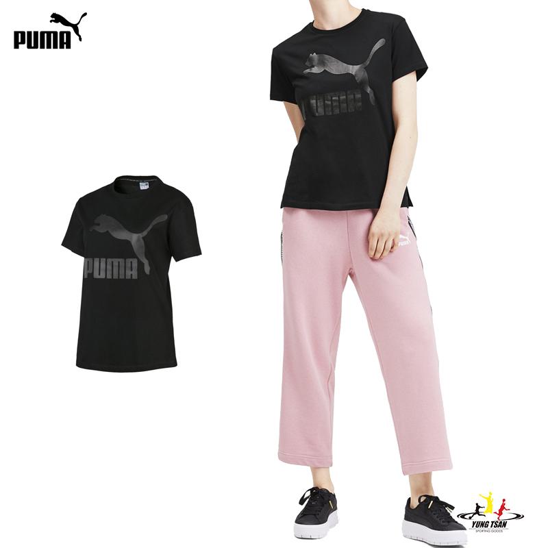 Puma 流行系列 LOGO 女 黑 短袖上衣 運動上衣 短T 休閒 短袖 T恤 59551451