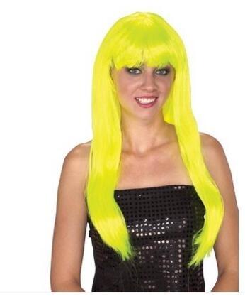 球迷假髮足球寶貝啦啦隊假髮黃色粉紅色紫色藍色長直假髮