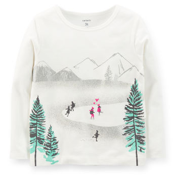 Carter's長袖上衣  滑雪場白色設計款T恤  5T (Final sale)