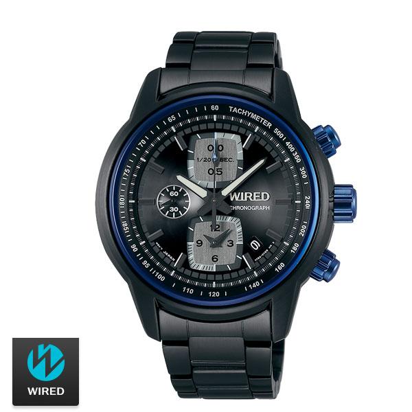 WIRED黑藍計時碼表三眼黑鋼錶x43mm 7T92-X271SD AF8U17X1公司貨名人鐘錶高雄門市