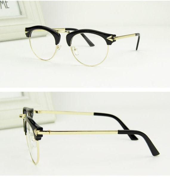 新款太陽鏡潮人復古箭頭框眼鏡時尚金屬腿平光鏡男女眼鏡架超取3-7天收貨