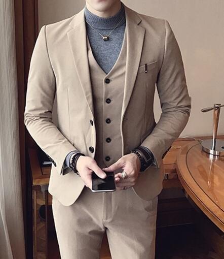 找到自己品牌韓國男西裝外套穿搭三件式套裝成套西裝西裝修身外套背心褲子