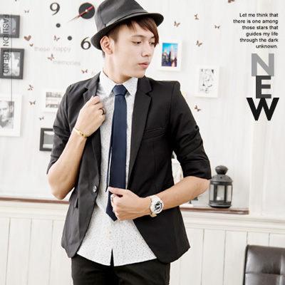 西裝外套-黑襯巾七分西裝外套-帥氣有型款999116-1~黑色SMR