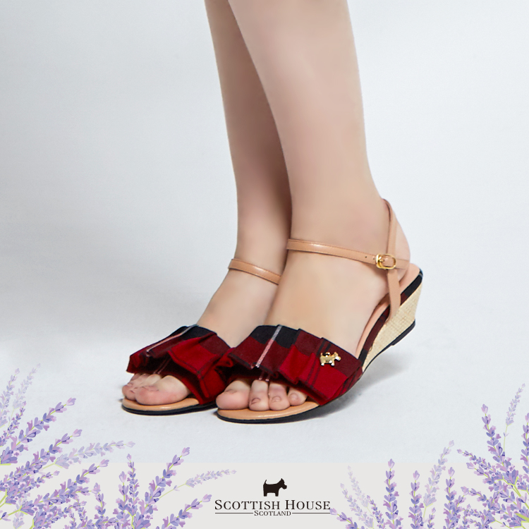 【紅黑格】荷葉格紋涼鞋 Scottish House【AI4601】