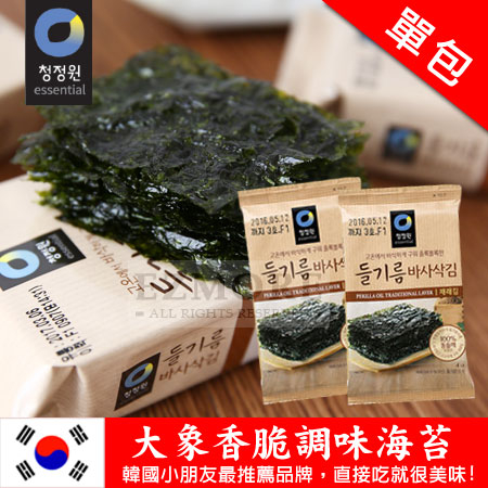 韓國 大象香脆調味海苔 (單包) 4g 海苔 隨身包 香脆海苔
