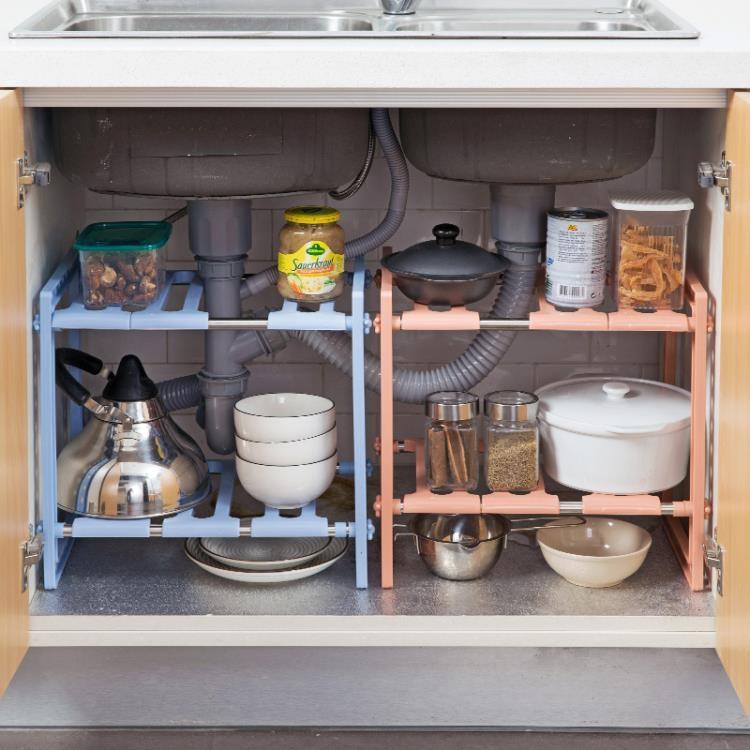 超豐國際伸縮水槽置物架廚房放鍋的架子水池下多層收納架落地儲物架