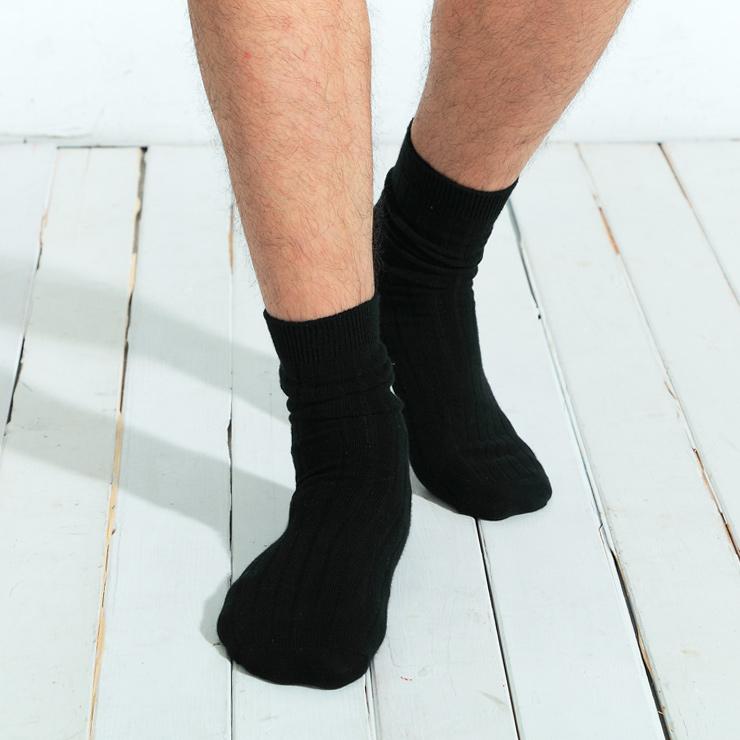【101原創】台灣製.寬羅紋基本原色中筒襪(男)共3色