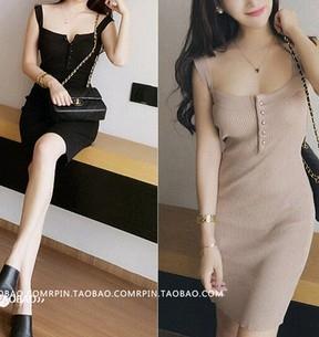 EASON SHOP GU1853吊帶V領背心裙洋裝針織連身裙女裝修身波浪性感無袖吊帶裙露背長裙黑色駝色
