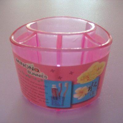 水漾牙刷架(桃紅色)/收納盒/置物架/筆架/可放牙刷.牙膏.梳子