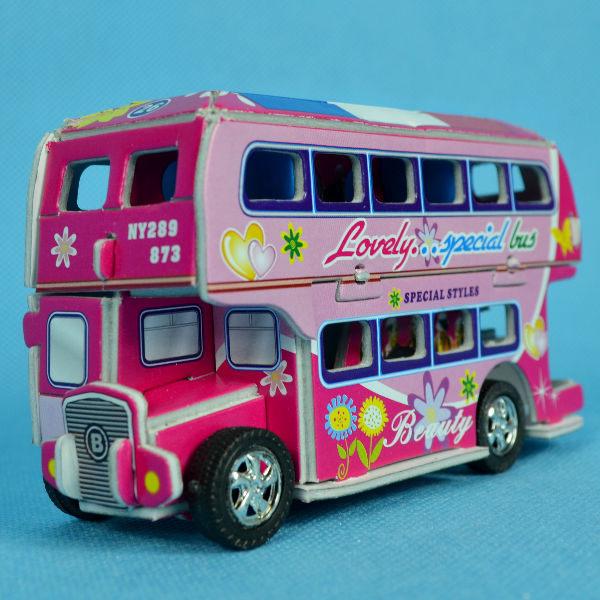 佳廷家庭親子DIY紙模型3D立體拼圖贈品獎勵品專賣店工程車特種車迴力雙層巴士2法國國旗卡樂保