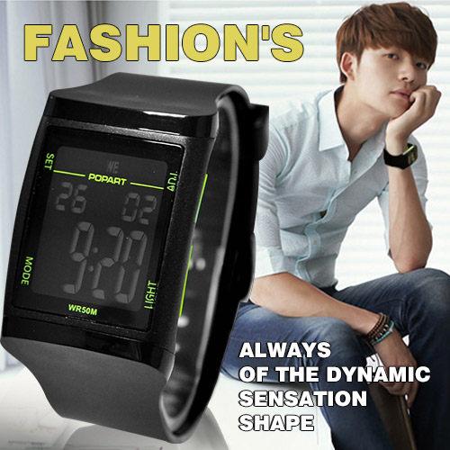 防水50M電子錶日韓方型質感運動電子錶男女錶鬧鈴碼錶冷光匠子工坊UT0060
