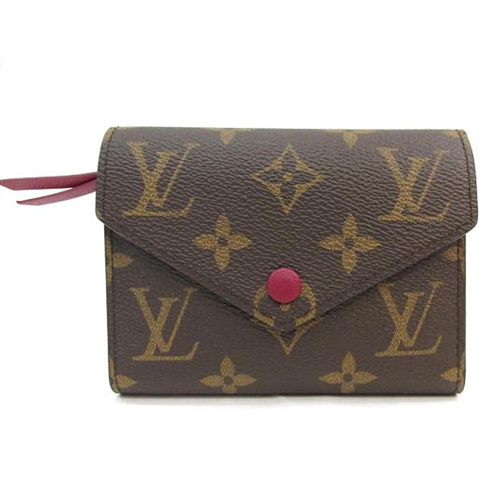 茱麗葉精品全新精品Louis Vuitton LV M41938 Victorine經典花紋扣式錢短夾.紫紅預購