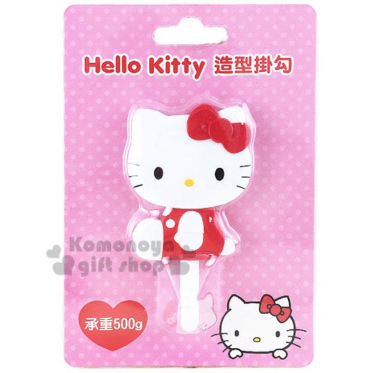 〔小禮堂〕Hello Kitty 貼式造型掛勾《紅.側坐.泡殼》耐重500g 8021057-30002