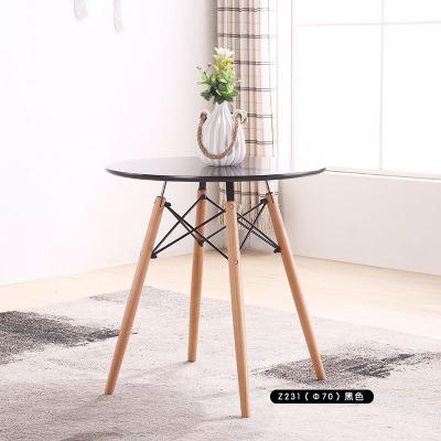 小戶型北歐實木餐桌椅組合咖啡廳桌椅伊姆斯洽談圓桌現代簡約桌子預購CH1358
