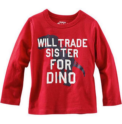 Carter's/OshKosh B'gosh 美國童裝 恐龍 純棉T恤 長袖 紅色 12M 18M 24M