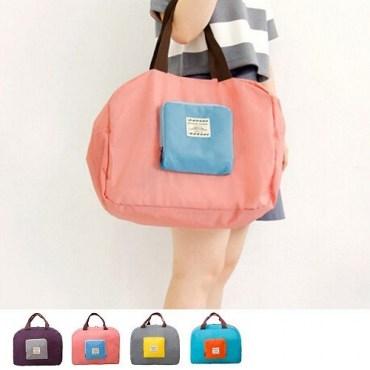 韓版撞色款摺疊單肩收納袋購物袋4色-粉色