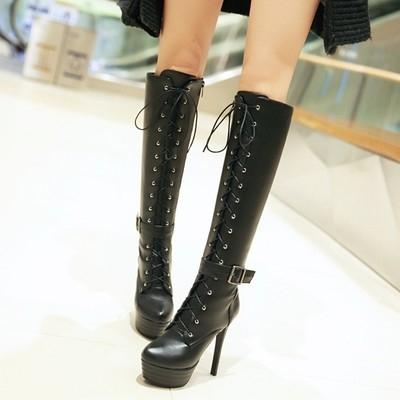 性感系帶細跟超高跟高筒長靴女靴-黑/白/米/棕34-45【no-521630635257】