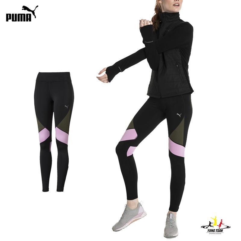 Puma Logo 女 黑 緊身褲 撞色 運動長褲 束褲 內搭褲 九分褲 慢跑 排汗 透氣 瑜珈褲 51668701