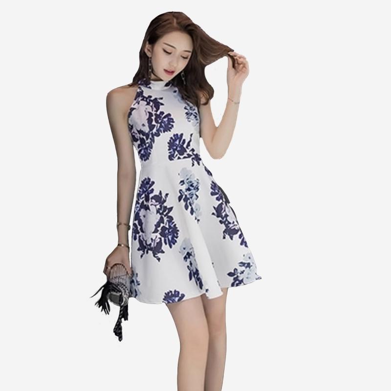 宴會 甜美削肩青花瓷感澎澎裙洋裝 11850056