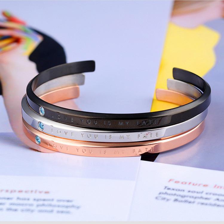 5折超值價316L西德鈦鋼情人禮物新款經典開口愛情微鑲鋯石情侶款鈦鋼手環
