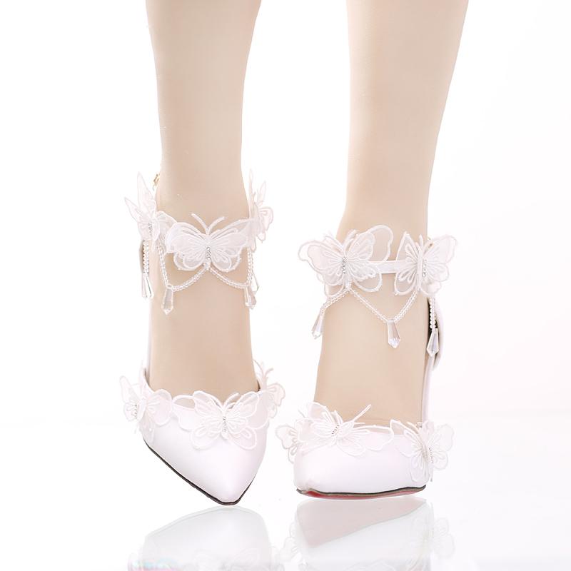 珍珠水鑽婚鞋超高跟細跟拍婚紗照鞋尖頭新娘鞋女涼鞋  :666120037