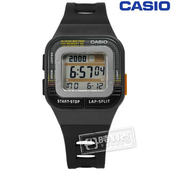 CASIO SDB-100-1A 10年電力慢跑運動方型計時電子手錶黑色34mm