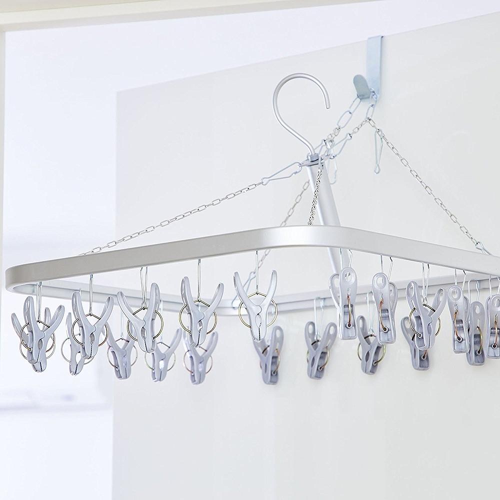 日本AISEN【變身機能】鋁合金框架20夾曬衣架