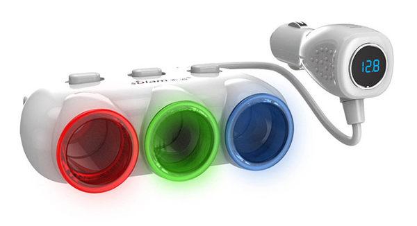索浪C26S雙USB車載一分三點煙孔擴充座帶電壓檢測功能白