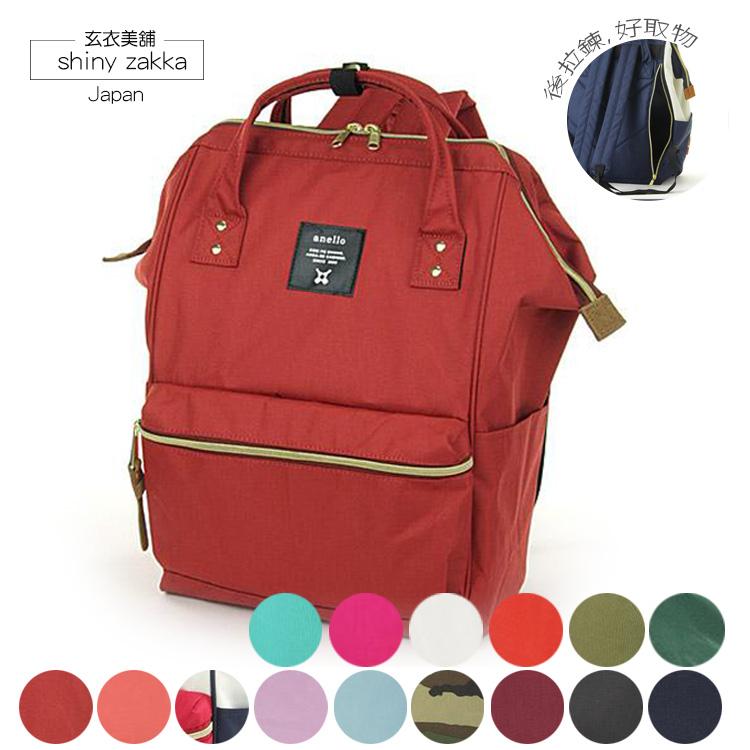 後背包-日本品牌包Anello新版後拉鍊大開口後背包M-紅色-玄衣美舖