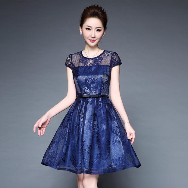 中大尺碼洋裝 媽媽禮服高檔蕾絲性感透視短袖連身裙 M-5XL #ybk6058❤卡樂store❤