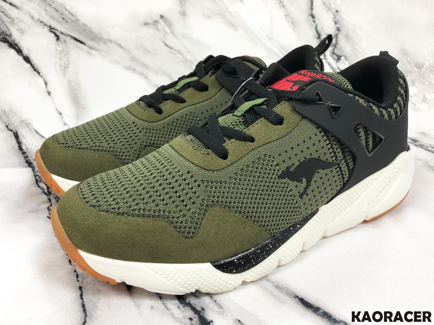 KangaROOS 男款墨綠黑編織白底運動鞋-NO.KM91105