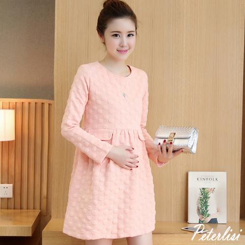 新款秋裝 韓版時尚立體壓紋波點長袖連衣裙 2762D 彼得麗絲