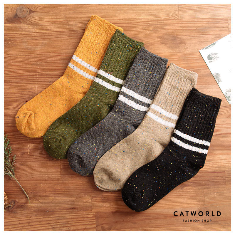 Catworld 雪花點點橫條棉質長襪【18900161】‧F