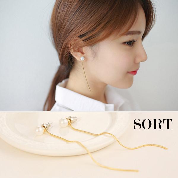 耳環氣質日韓簡約珍珠金屬線條長流蘇耳針耳環1DDE0048