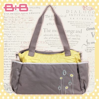 粉嫩2用媽媽包-黃保溫袋多功能收納肩揹側背媽咪包HAPPY B B E-95280-KY