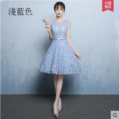 熊孩子晚禮服2017新款短款韓版宴會顯瘦優雅公主小禮服主圖款淡藍色