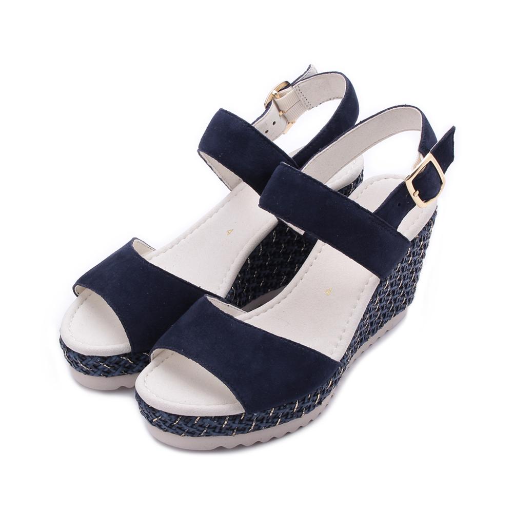 德國 GABOR 反毛側編織楔型涼鞋 深藍 25.790.16 女鞋