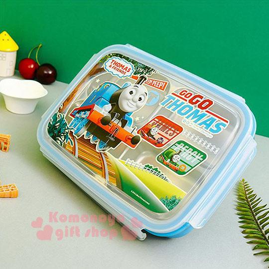〔小禮堂韓國館〕湯瑪士小火車 不鏽鋼餐盤式便當盒《長方型.藍.四面扣式.車頭.GOGO》 8806196-70216