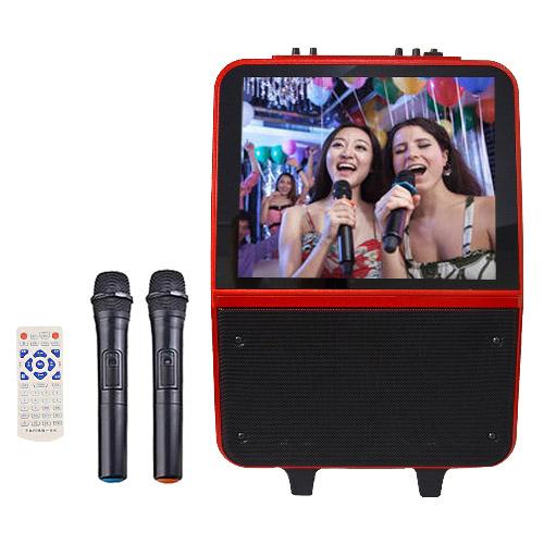 大聲公15吋螢幕伴唱型無線麥克風多功能行動音箱/行動KTV