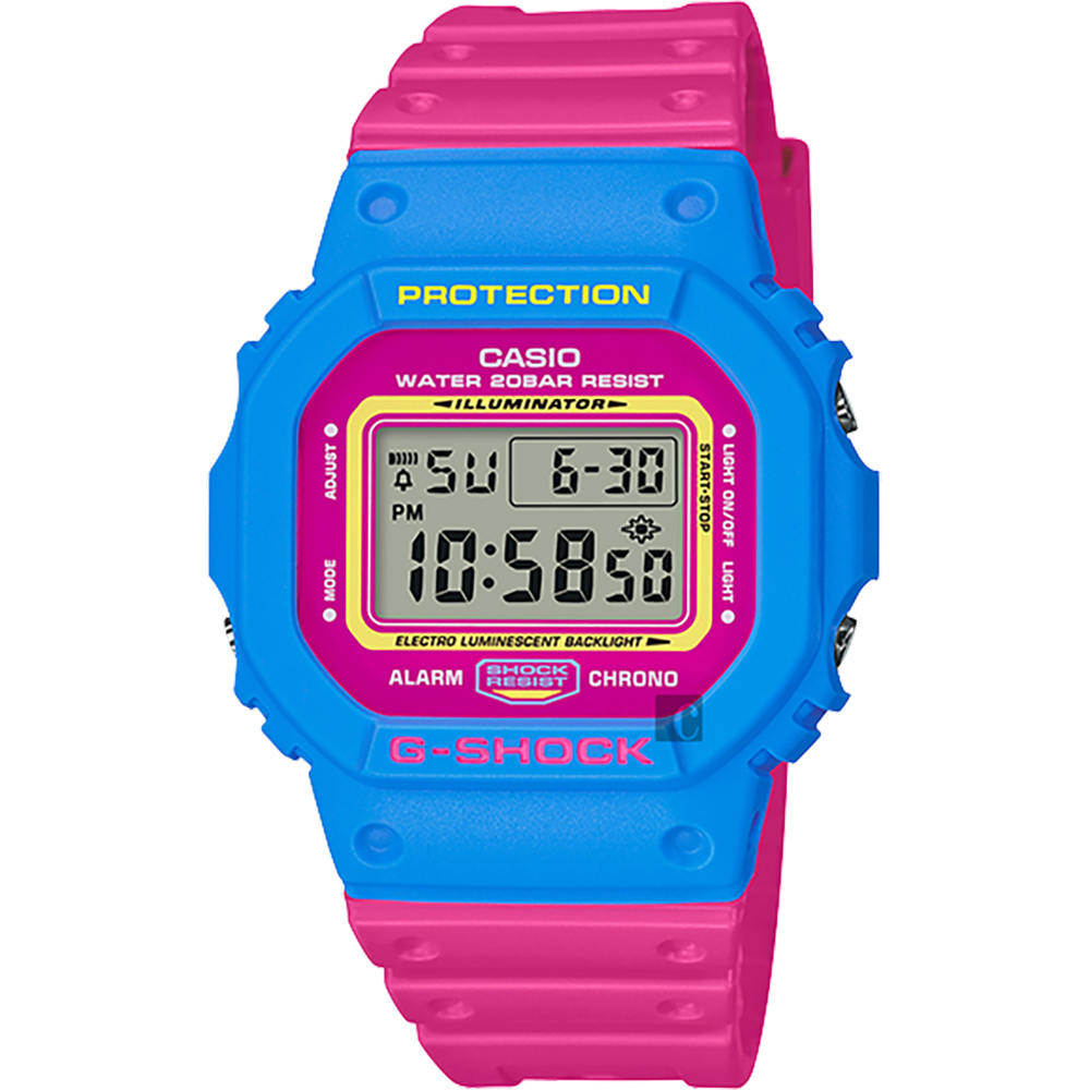 CASIO卡西歐G-SHOCK 80年代經典多彩電子錶-桃紅x藍DW-5600TB-4BDR