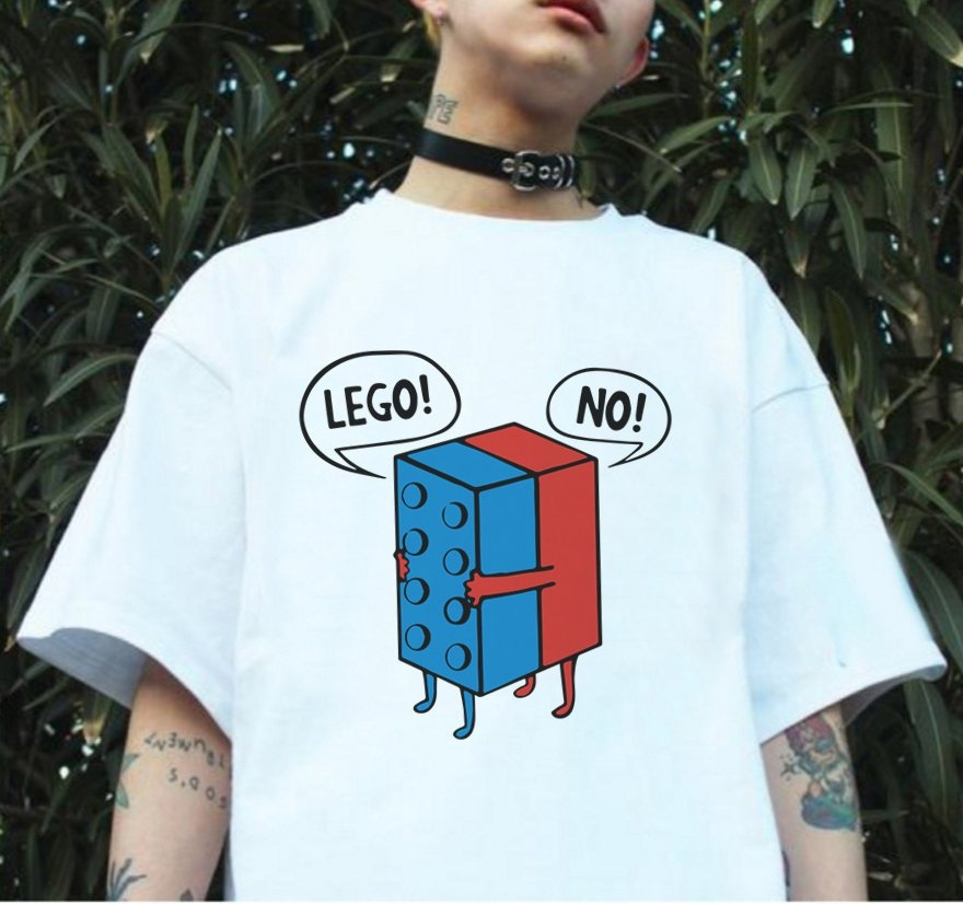 LEGO NO短袖t恤白色玩翻英文文字cara趣味幽默設計批t成人Gildan亞洲版型