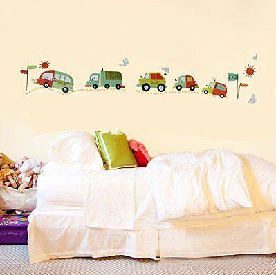 創意可移動壁貼牆貼背景貼磁磚貼兒童房佈置設計壁貼卡通車YP1797 BO雜貨