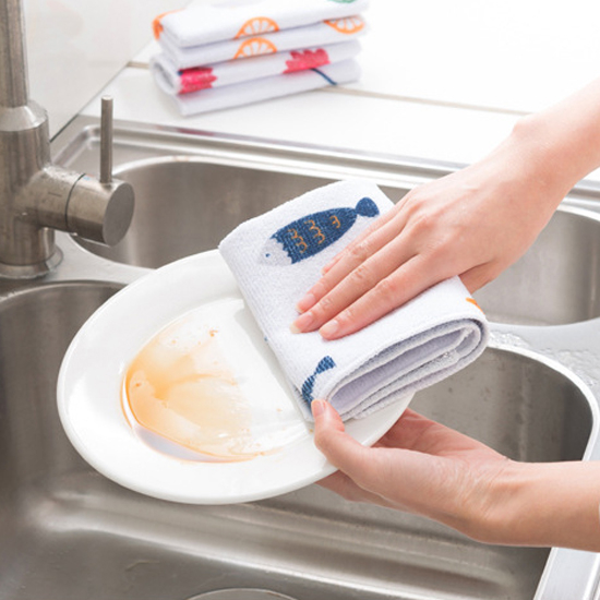 米菈生活館N196金銀絲雙面纖維印花抹布吸水防油廚房浴室清潔去汙印花洗碗擦拭