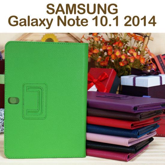 斜立帶筆插三星SAMSUNG Galaxy Note 10.1 2014 P6000 P6050荔枝紋皮套書本式側掀保護套~清倉